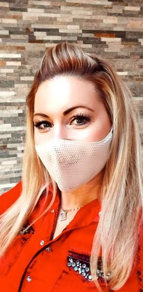 Activ-Mask beige zweilagig grobmaschig weitmaschig Mund-Nase-Bedeckung halb-transparent