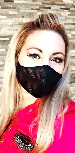 Maske Activ-Mask schwarz zweilagig grobmaschig weitmaschig Mund-Nase-Bedeckung Attrappe