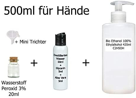 DIY-SET 500 ml Rohstoffe WHO-Rezept Hand-spray Ethanol 96% +Aloe Vera+Glycerin+ 3%Wasserstoffperoxid